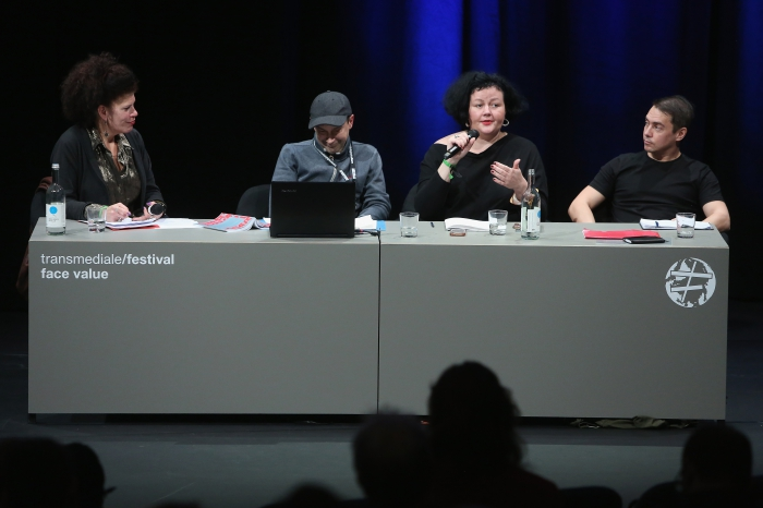 "Diana McCarty, Alex Foti, Ewa Majewska, and Rasmus Fleischer (left to right) at the panel ""The Many Faces of Fascism"""