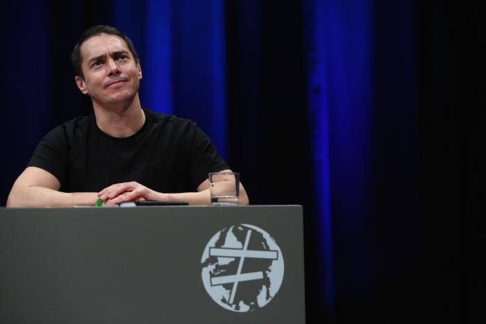 """Rasmus Fleischer at the panel """"The Many Faces of Fascism"""" at transmediale 2018 face value"""