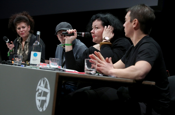 "Panelists of ""The Many Faces of Fascism"" at transmediale 2018 face value"
