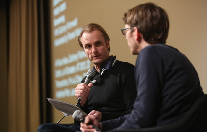 "Florian Wüst interviewing Zachary Formwalt after the screening""Safe Investment"" at transmediale 2018 face value"