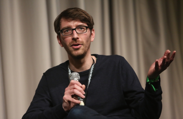 """Zachary Formwalt after the screening """"Safe Investment"""" at transmediale 2018 face value"""