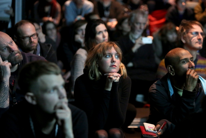 "Audience at ""Unpacking Finding Fanon: Media Minerals"", transmediale 2018 face value"