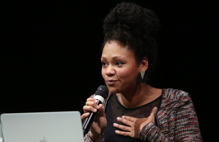 "Nelly Yaa Pinkrah at the panel ""The Weaponization of Language"" at transmediale 2018 face value"