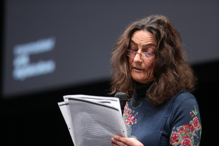 "Sybille Krämer at the panel ""The Weaponization of Language"" at transmediale 2018 face value"
