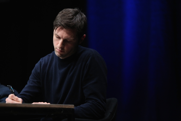 "Nick Thurston at the panel ""The Weaponization of Language"" transmediale 2018 face value."