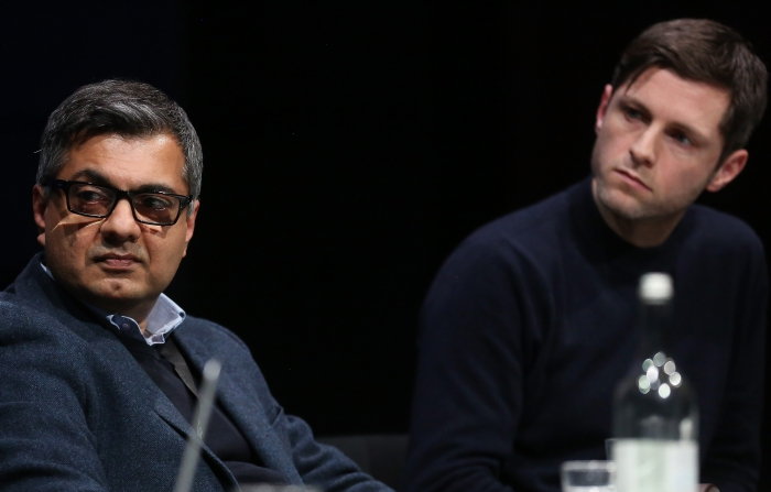 "Faisal Devji (left) and Nick Thurston (right) at the panel ""The Weaponization of Language"" at transmediale 2018 face value."