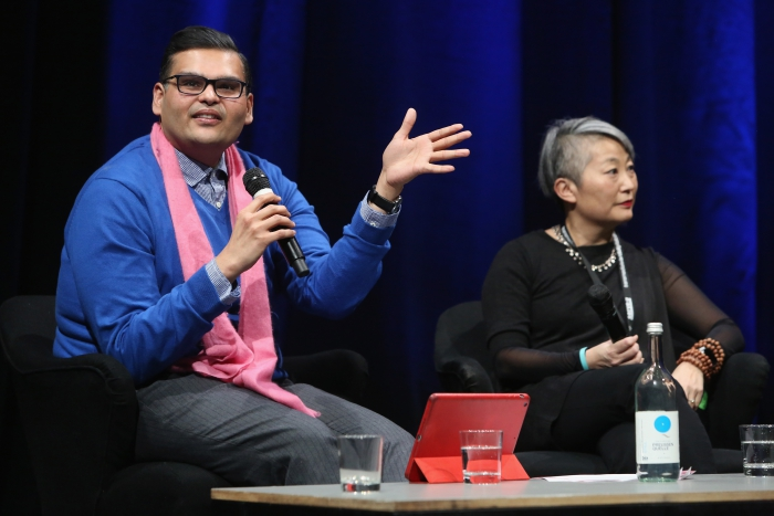 "Nishant Shah (left) and Lisa Nakaruma (right) in the discussion after the keynote ""Call Out, Protest, Speak Back"" at transmediale 2018 face value."