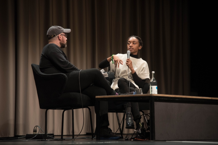 "Zach Blas (left) and Aria Dean (right) at the pdiscussion ""Reimagine the Internet: Affect, Velocity, Excess"" at transmediale 2018 face value."