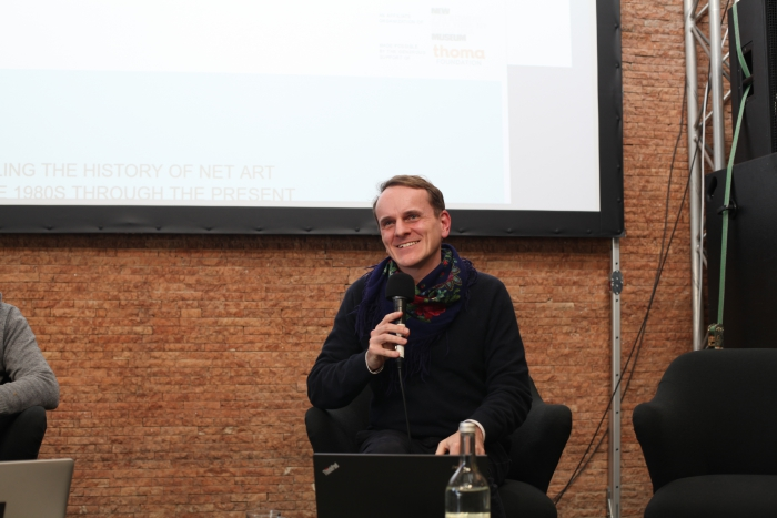 "Dragan Espenschied during the panel ""Growing a Repertoire: The Preservation of Net Art as Resistance to Digital Industrialism"" at transmediale 2018 face value."